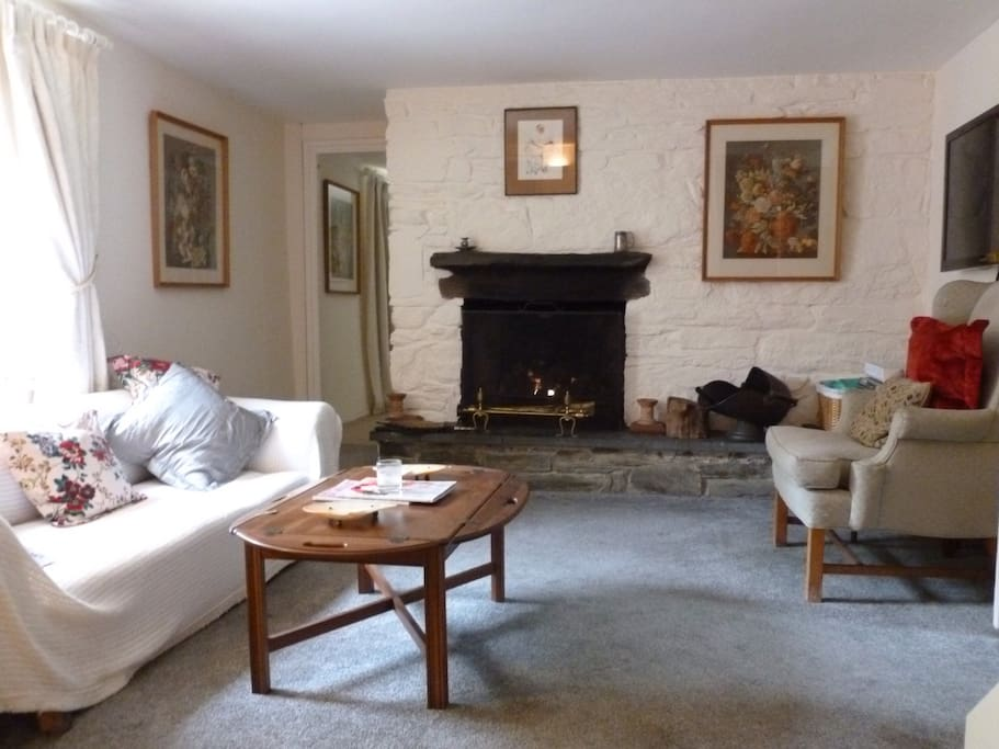 The sitting room with its wood/coal fire.