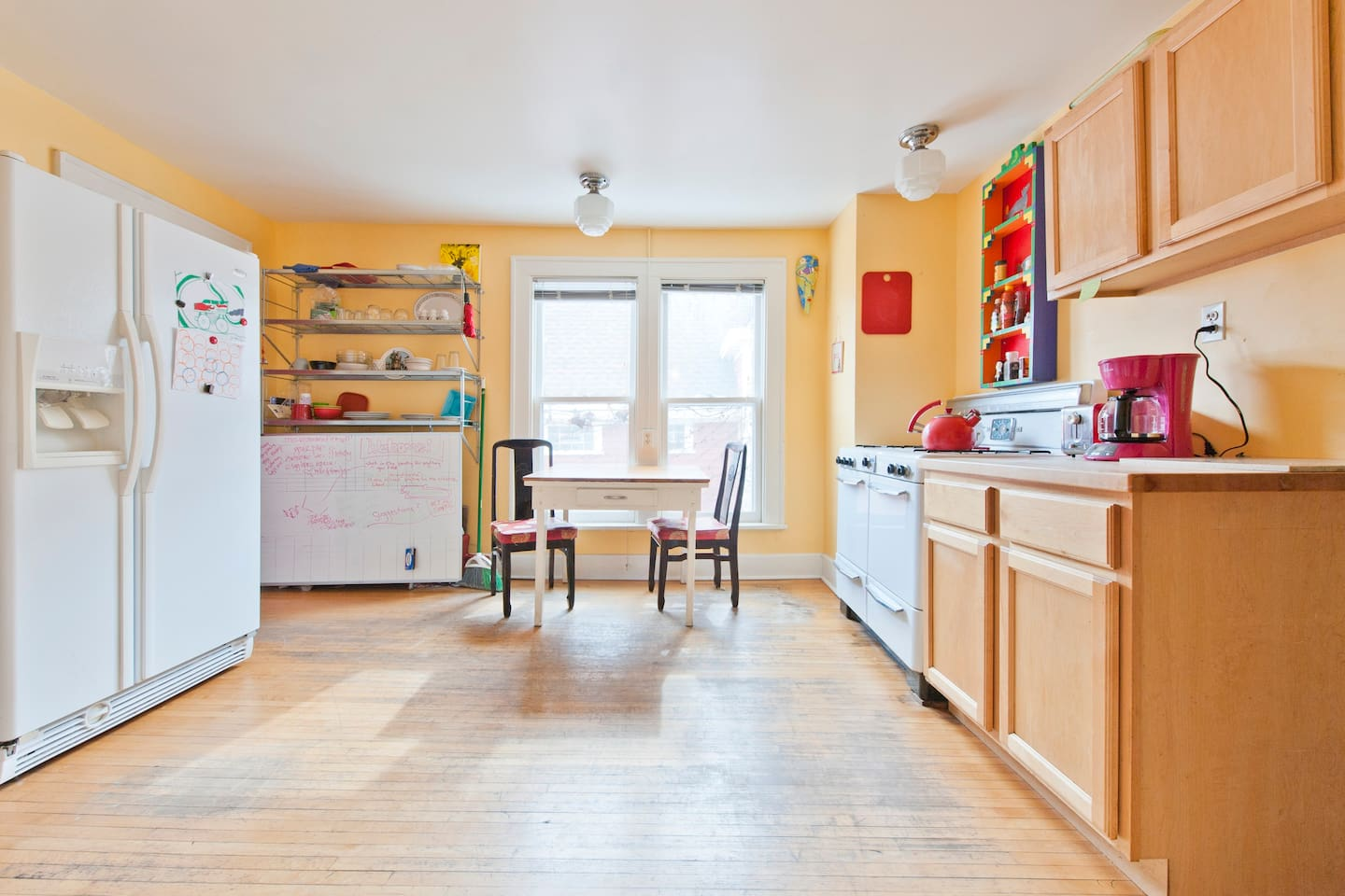 A bright and cozy kitchen for when you're too tired to enjoy all of the fresh, organic, locally-owned restaurants within walking distance.