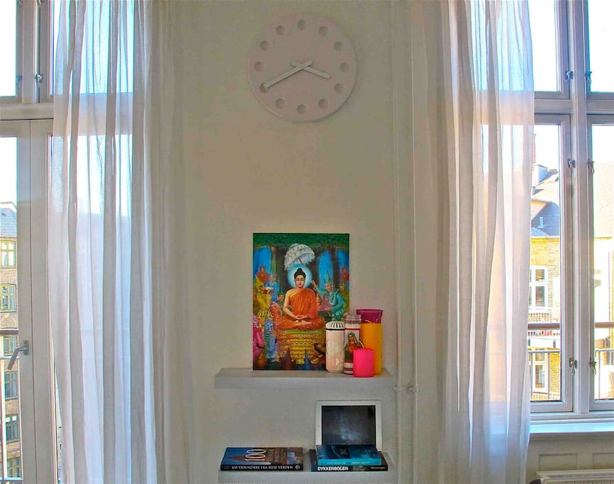 """""""Altar"""" picture is from Myamar. The altar decoration includes items from Belize and New York."""