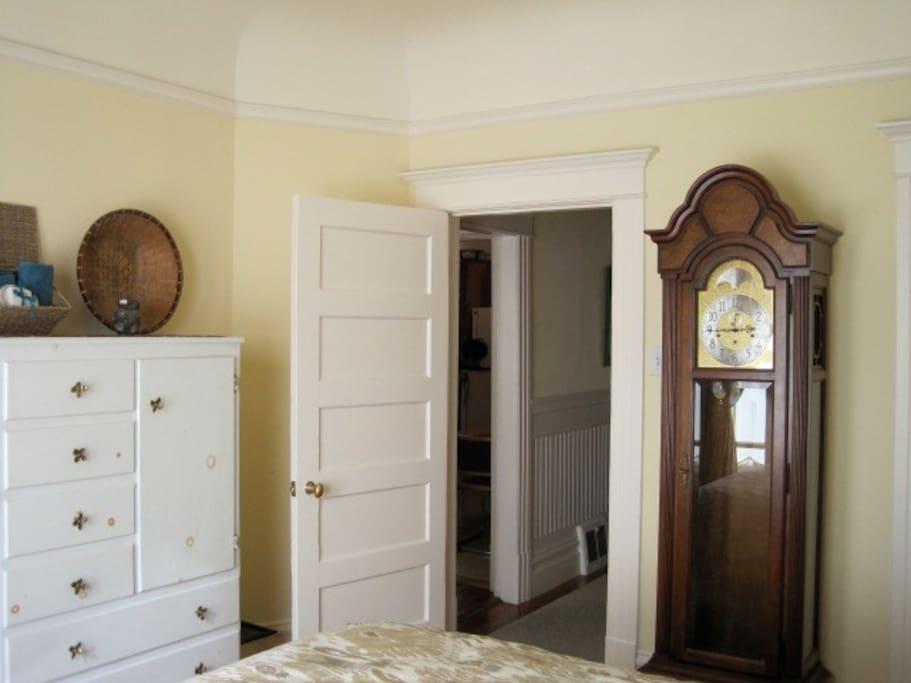 Bedroom, adjacent to living room and kitchen.