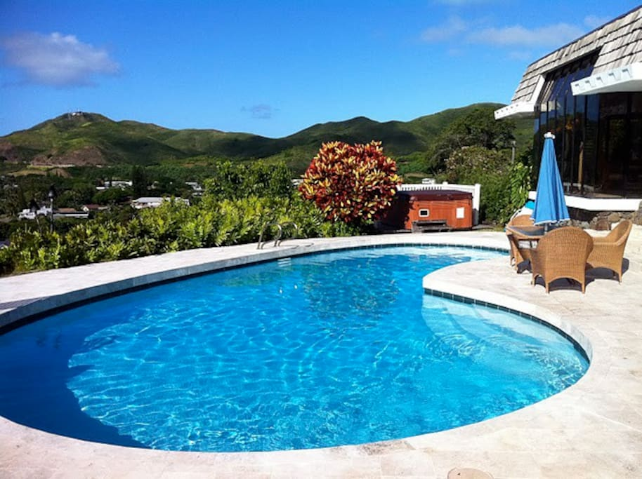 Salt water heated pool
