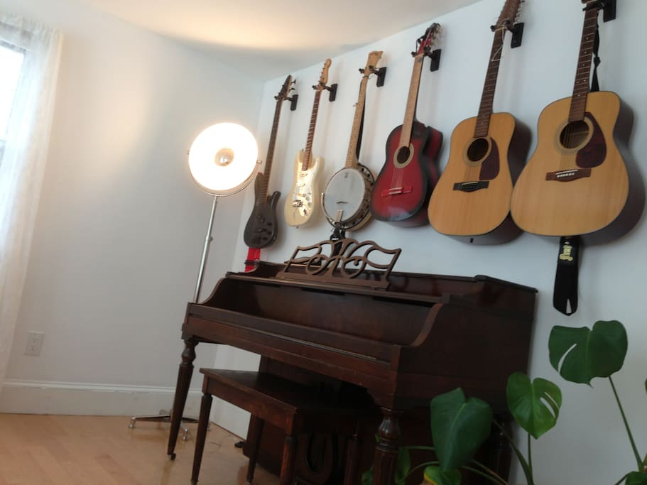 One of the bedrooms has a great musical instrument collection.