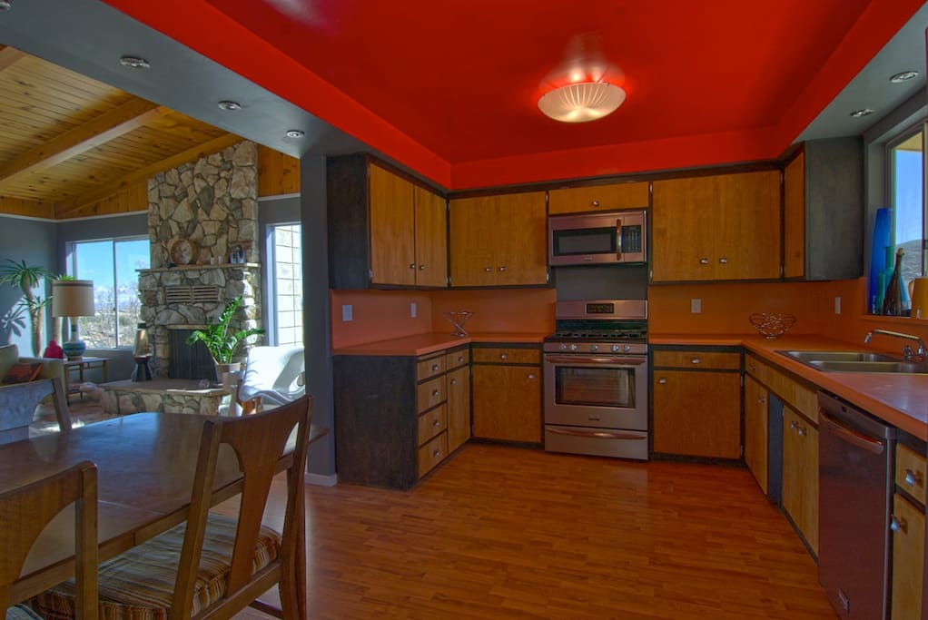 New stainless gas range, microwave, dishwasher and refrigerator. Loads of cooking supplies.