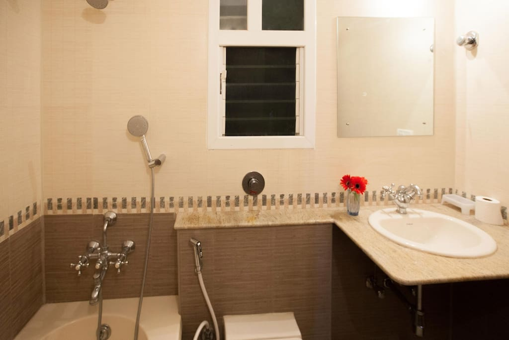 2 bathrooms - one attached with master bed, with tub, hot water geyser, hygiene faucet etc