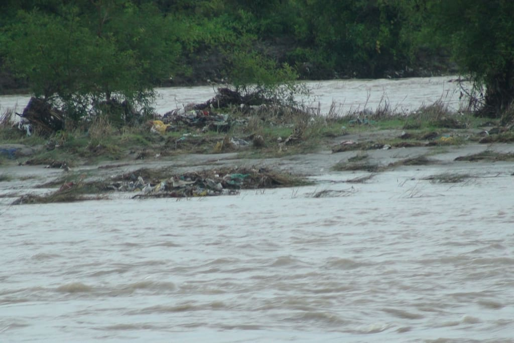 The Ganga river is in spate in this photo. Its the rainy season !!