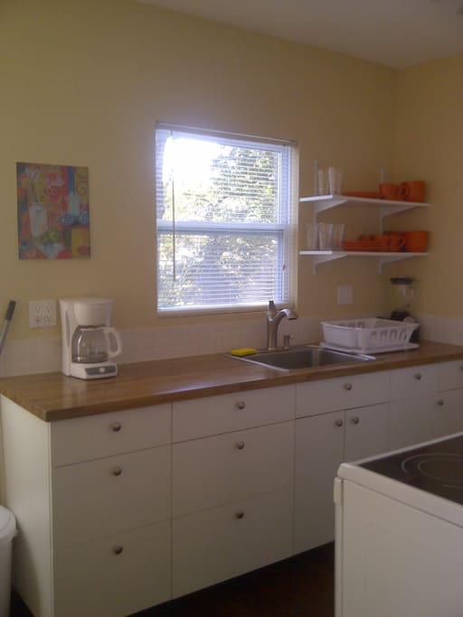 Brand new kitchen with butcher block counters