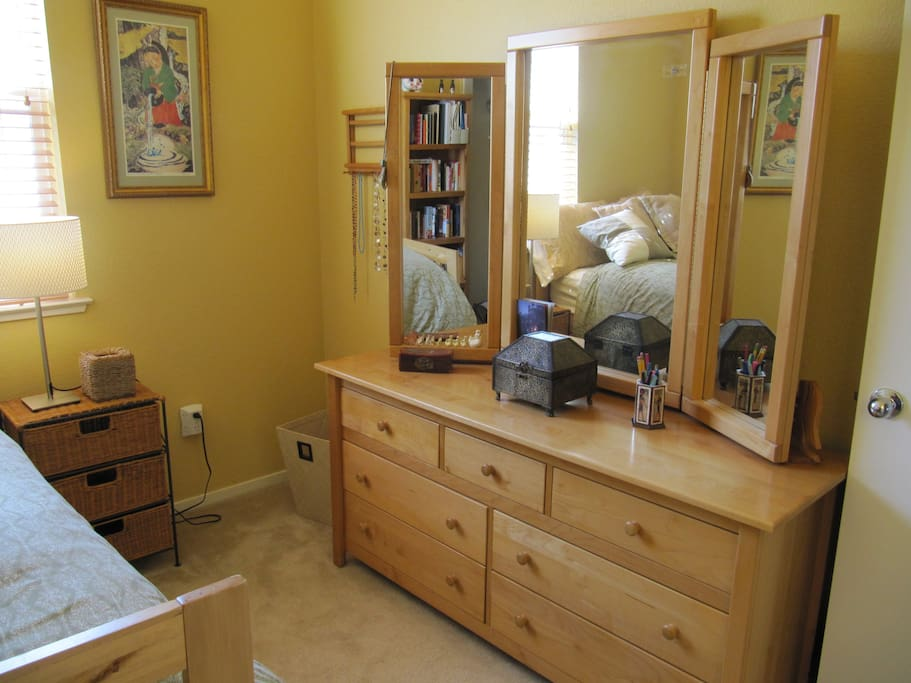 Beautiful, maple dresser with large mirrors for dressing and grooming
