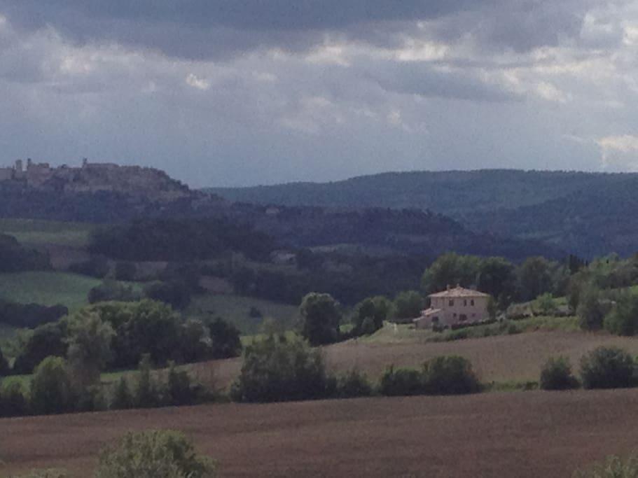 The landscape around the villa and Todi