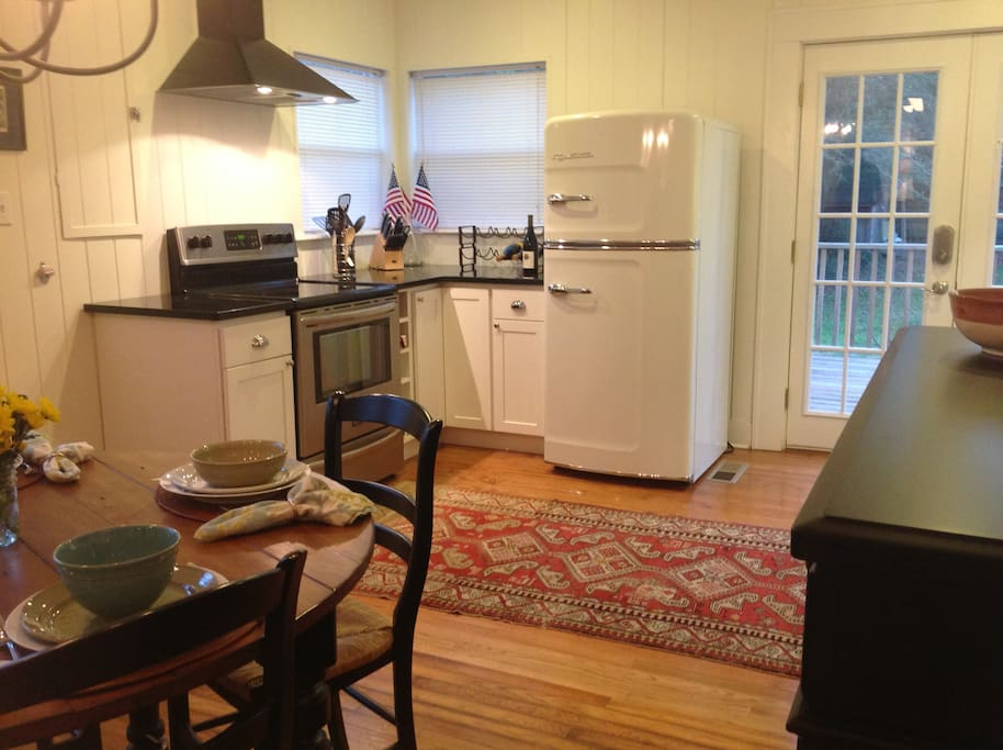 Kitchen with new Appliances and cool modern retro fridge!
