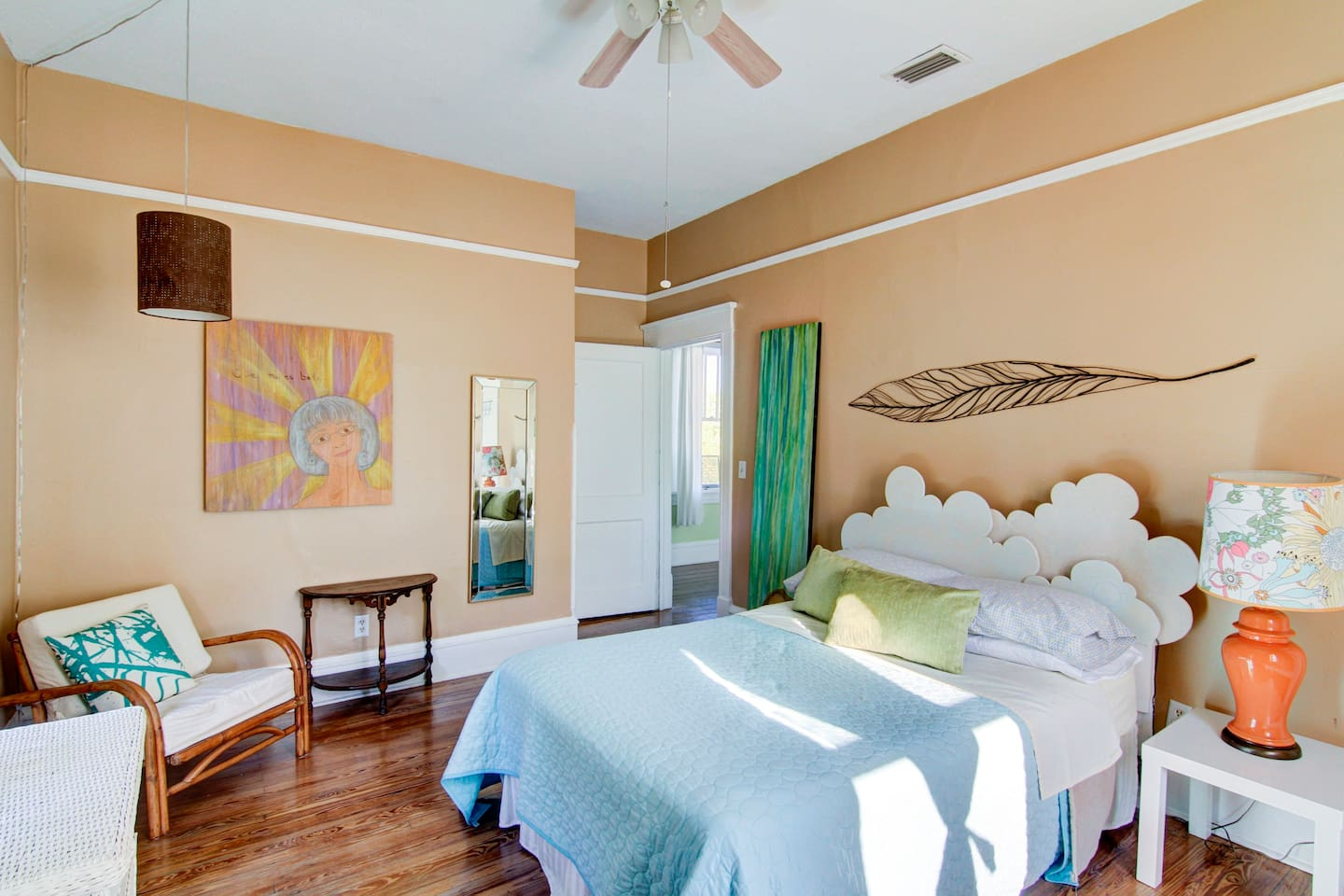 Bright sunny room with full size bed