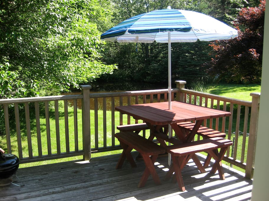 Back deck overlooking the grounds and small pond.