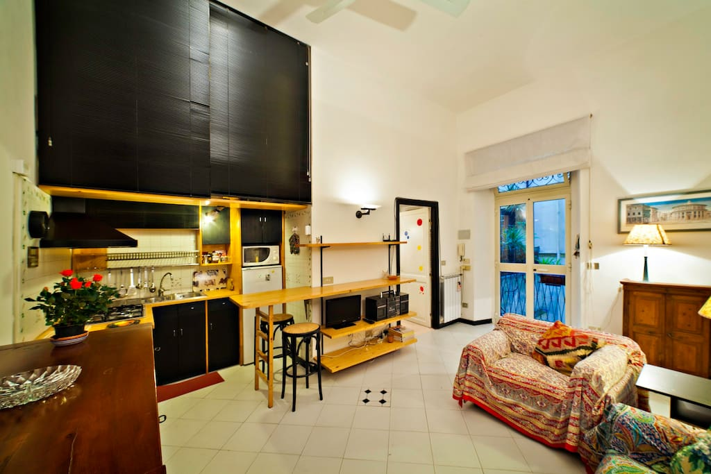 The entrance of the apartment is from a large window-door on the balcony leading to the quiet courtyard  through a private stairs.