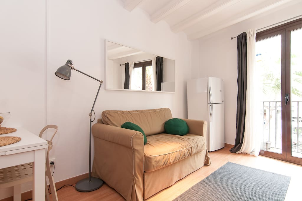 Very small, with smart disposition that makes it a perfect place for 2-3 guests.