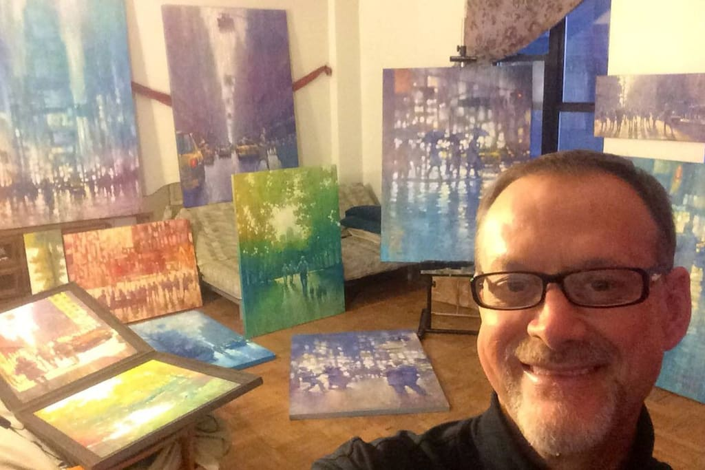 One guest, David transforms the space into his favorite artist's studio when he is in NY visiting from from Australia.