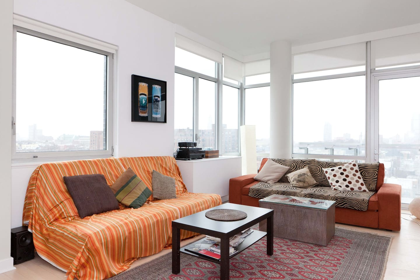 The shared living room, with ample and comfortable sitting for everyone
