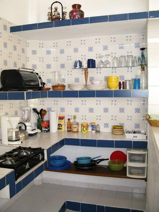 The Abajo Kitchen - Well equipped and light.  Easy to work in.