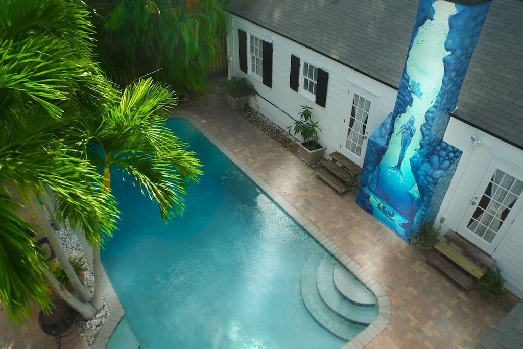 Heated pool with custom nautical painting