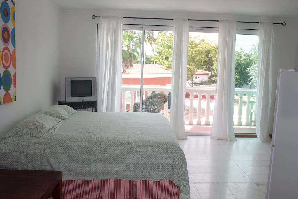 The Teal Studio has a king bed, mosquito screens, air conditioning, internet, cell phone, terrace