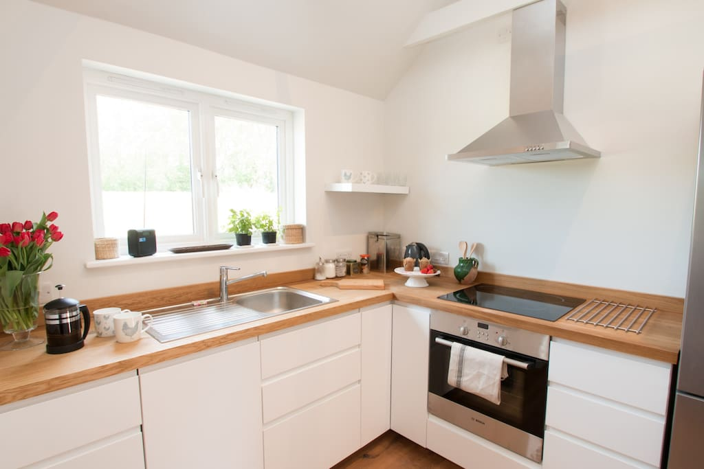 The modern, fully equipped kitchen.