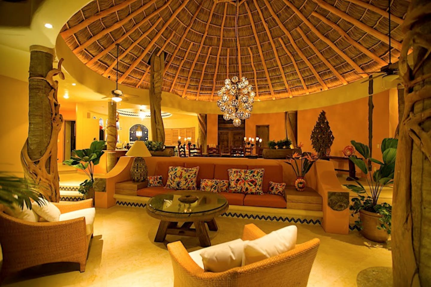 Living area under a huge palapa