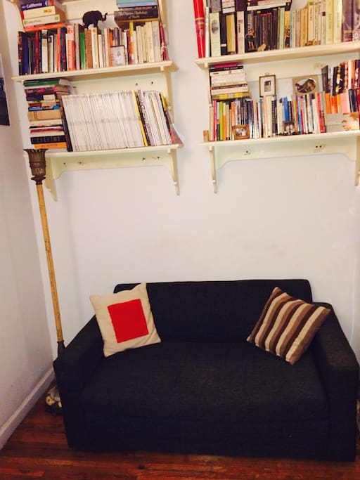 Living area with a large selection of reading.
