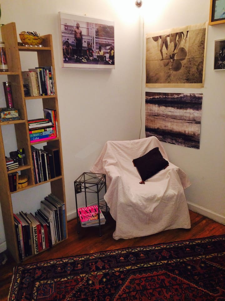 Cozy reading corner great for relaxing.