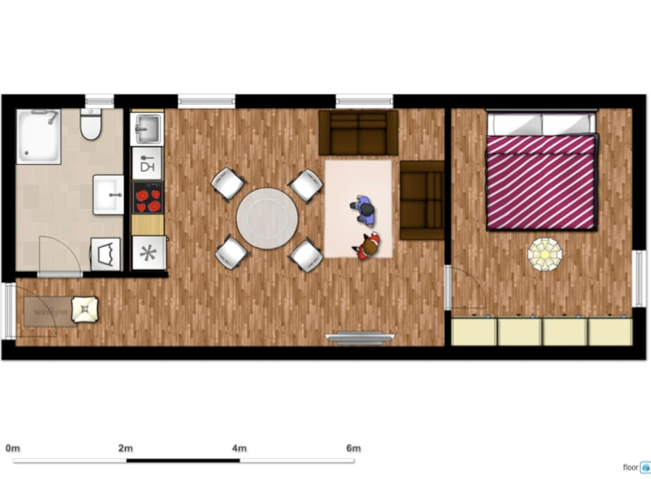 Floorplan - the apartment offers a bathroom, a living room and a bed room.