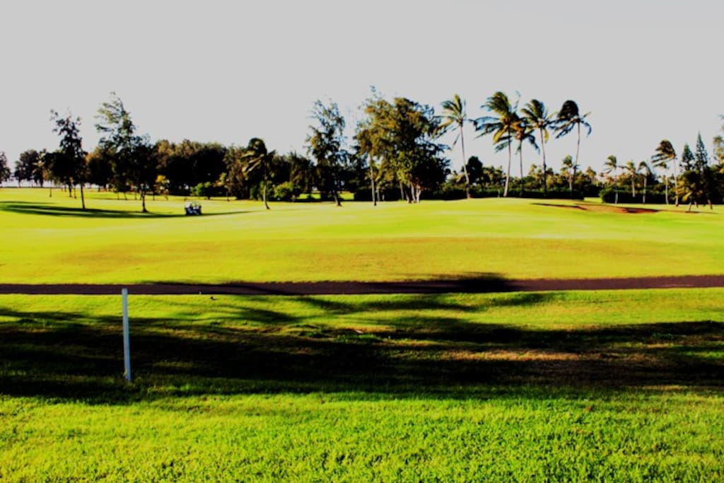 View from the lanai: 1st fairway of the golf course,  the beach is just beyond the trees