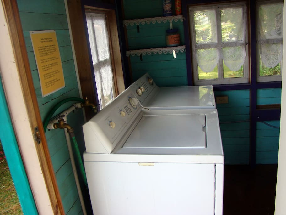 Full laundry facilities, modern machines with hanging space