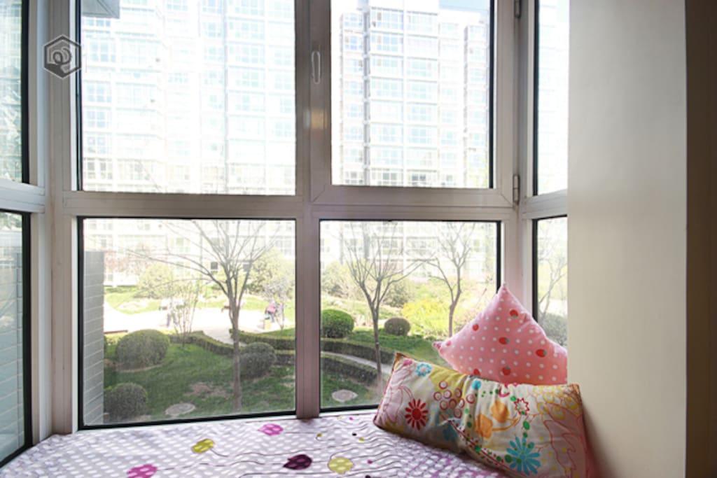 Nice and cozy balcony in bedroom