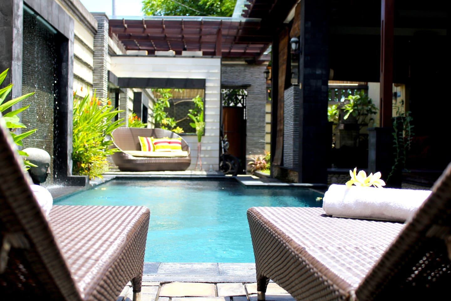The happy place by the pool at Villa Honey