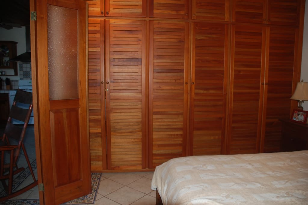 Plenty of storage space in locally crafted teak closets