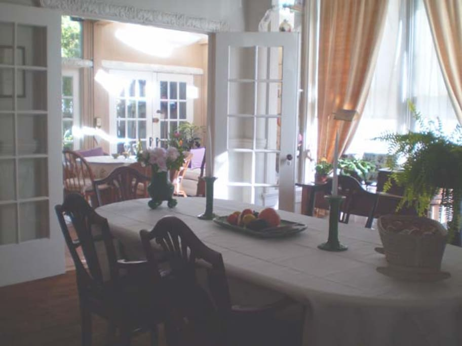 Dining Room, with French Doors leading to sunroom