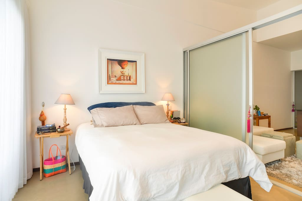 Queen Bed with sliding doors for privacy if more guests