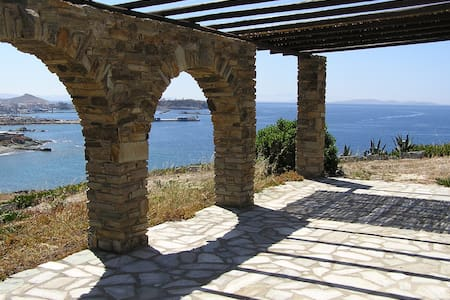 Seaside House Siroccos with view of Tinos Harbor - Tinos - House