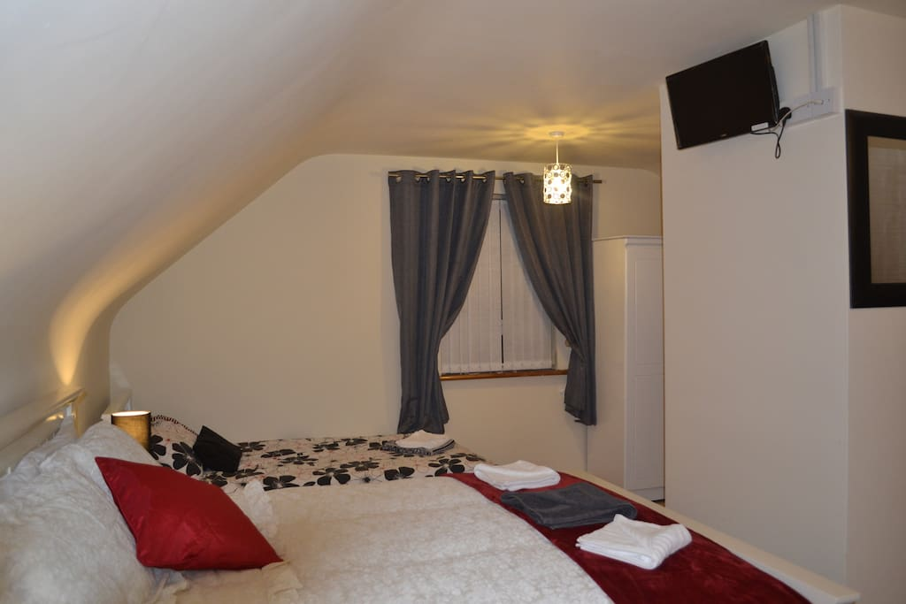 Family room, consisting of three beds, one double and two single, extra fold out bed available if requested