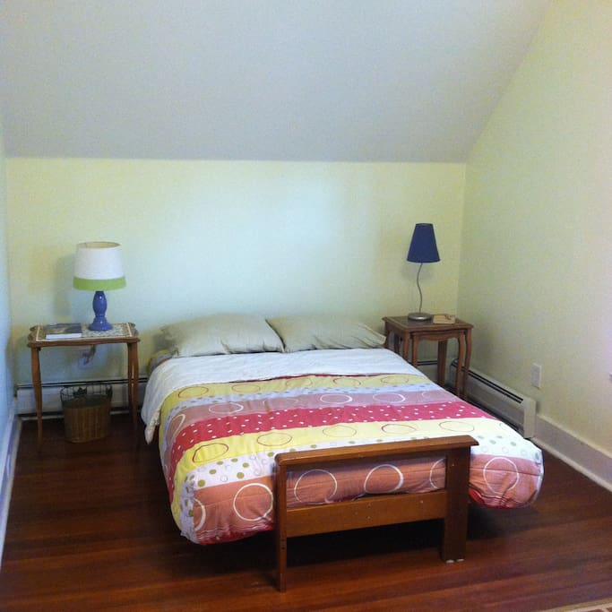The Guest Room has a new double size futon mattress always with clean sheets and the appropriate weight blankets.