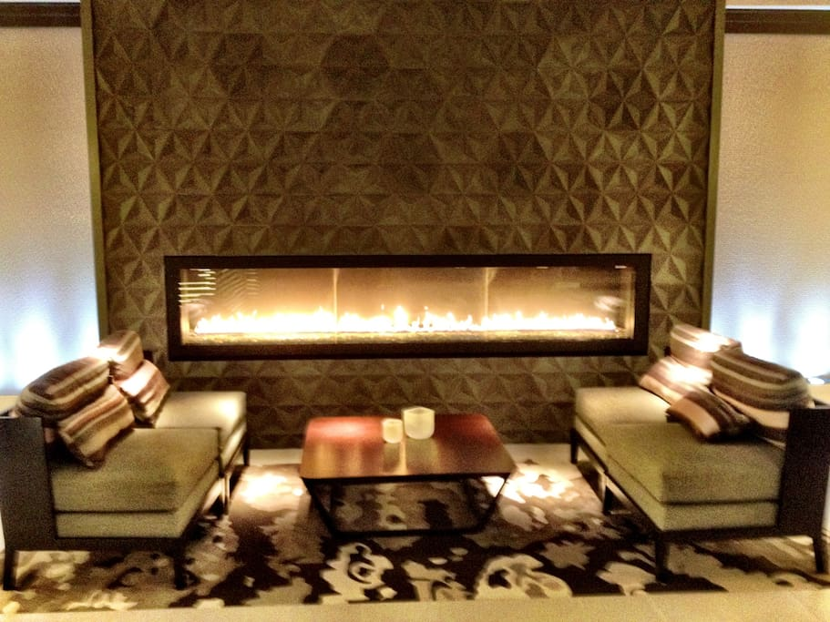 Relax next to the fire in the lobby.