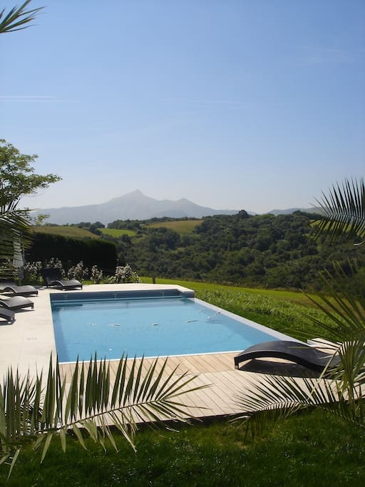 Pool view of mountains:La Rhune (natural landmark of France)