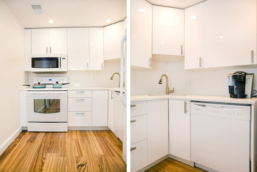 full kitchen, with dishwasher and keurig