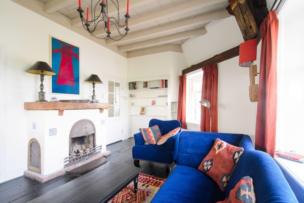 living, check Mondriaan' s windmill above fireplace!