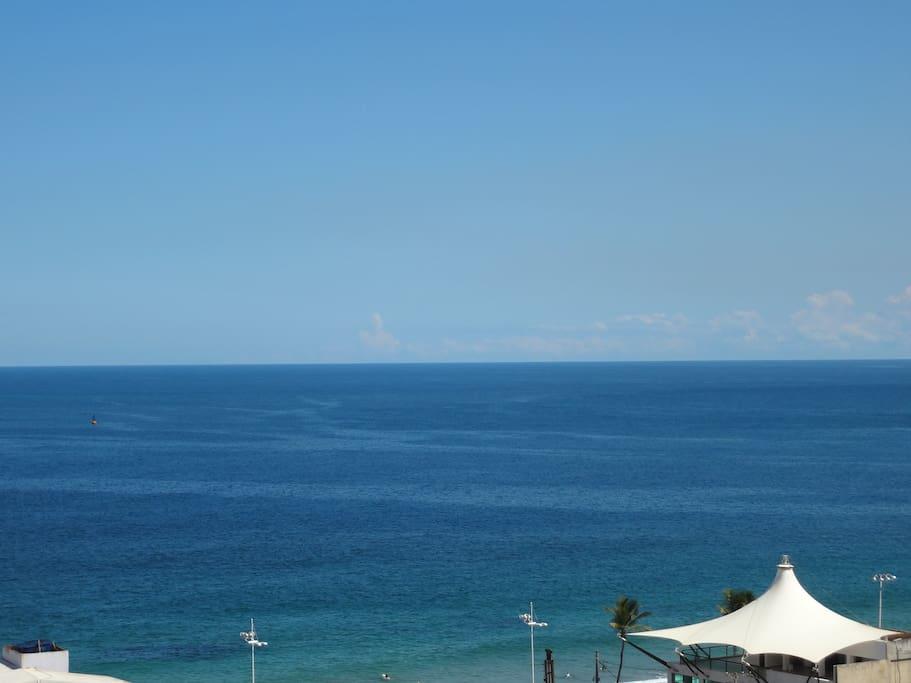Farol da Barra beach view from the veranda of the apartment.