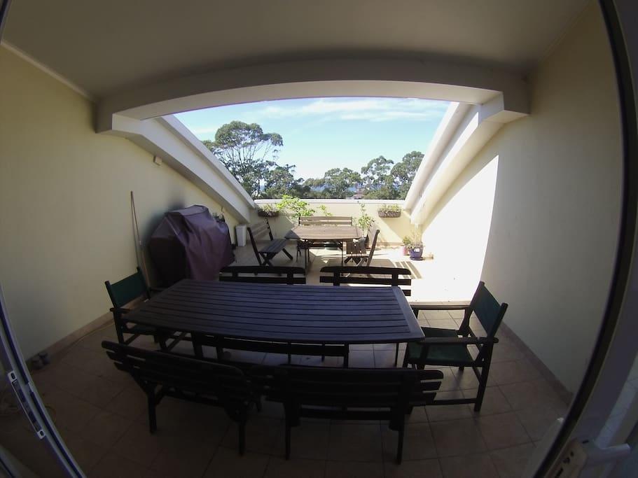 balcony and BBQ area