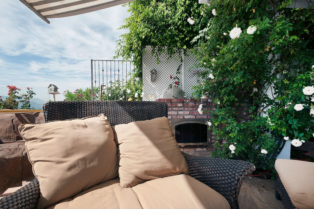 OUtdoor fireplace and smoking oven in the background.  Cozy couch outdoors on patio
