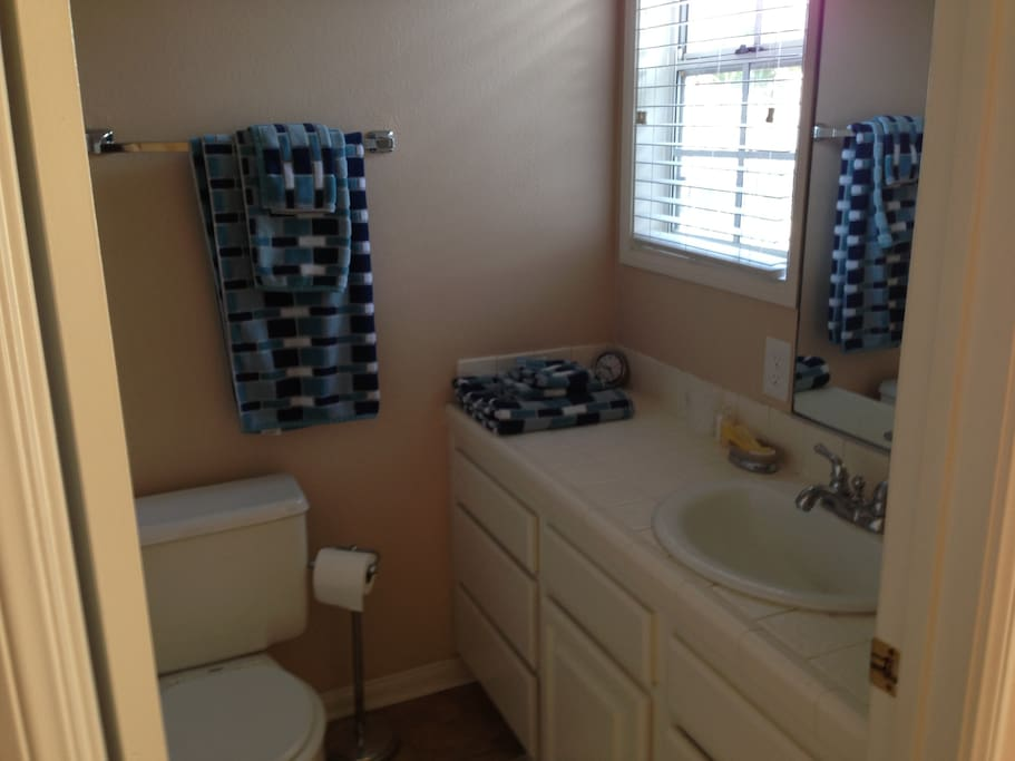 The master suite has a private bathroom.  Clean towels will be provided.