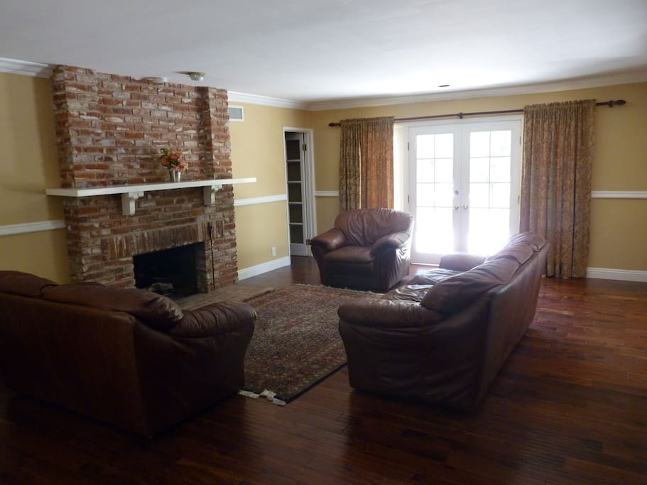 Bright, large living room with new hardwood floors