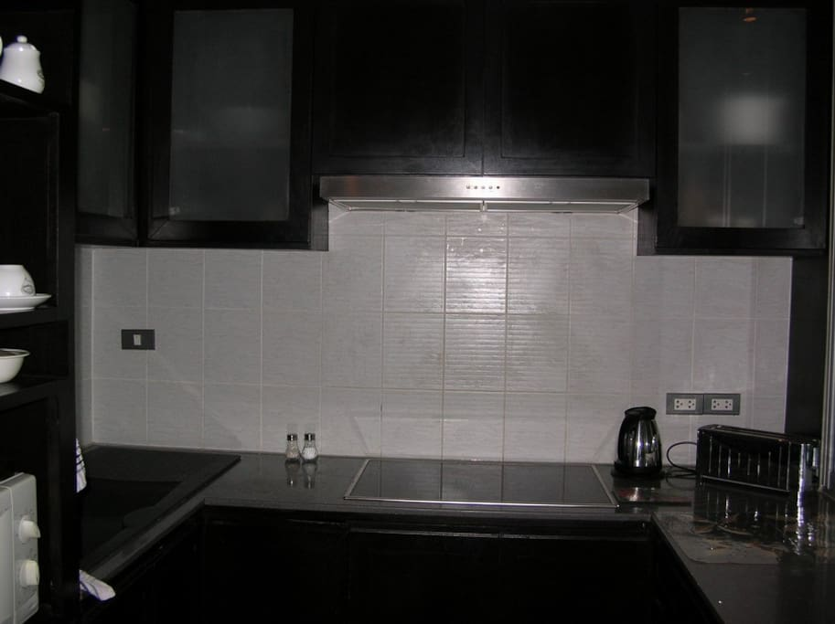 Kitchen has microwave and Electric hob, Kettle, Toaster and all cooking and eating equipment