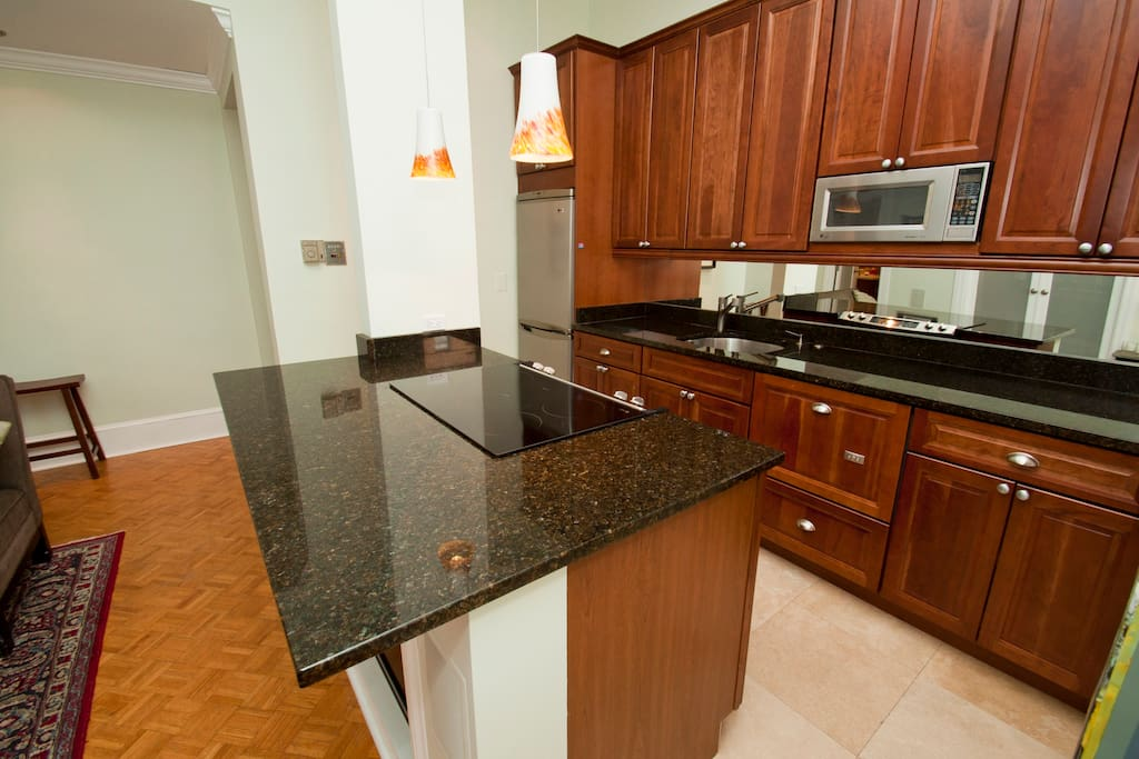 The kitchen is newly remodeled and very clean.