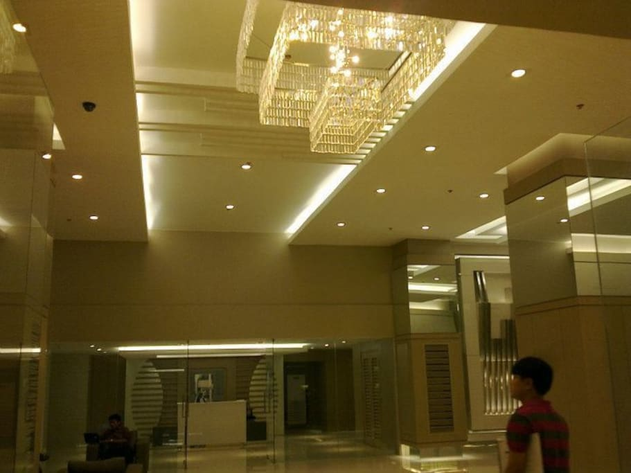 Stunning lobby with big chandelier