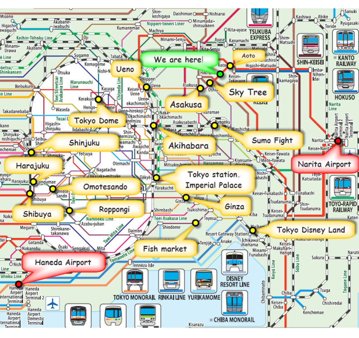Train Map Great Access from Narita Airport & Haneda Airport (Direct Train)